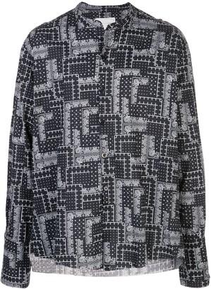 Greg Lauren Bandana-Print Band-Collar Shirt