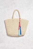 Forever 21 FOREVER 21+ Tasseled Straw Tote Bag
