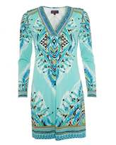 Hale Bob Womens Dress, Blue Print V-Neck Tunic