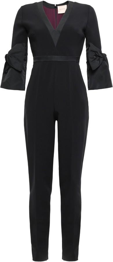 Roksanda Bow-detailed Taffeta-paneled Crepe Jumpsuit