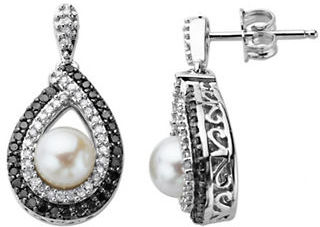 Lord & Taylor Pearl and Diamond-Accented Earrings in Sterling Silver, .63ct. t.w.