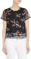 Lucy Paris Floral Embroidered Mesh Top