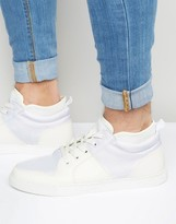Asos Mid Top Sneakers in White With Neoprene