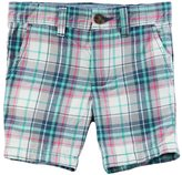 Carter's Boys 4-8 Pink & Mint Plaid Flat Front Shorts