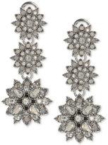 Marchesa Silver-Tone Crystal Flower Triple-Drop Earrings