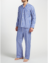 Derek Rose Stripe Woven Cotton Pyjamas, White/blue