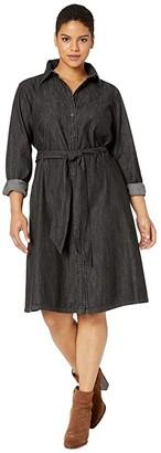 Lauren Ralph Lauren Plus Size Belted Shirtdress (Nightfall Wash) Women's Clothing