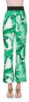 Dolce & Gabbana High-Waist Banana Leaf-Print Cropped Pants, White/Green