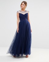 Little Mistress Tulle Maxi Dress With Embellished Trim