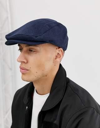 Asos Design DESIGN navy texture flat cap