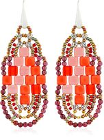 Ziio Pixel Red Beaded Earrings