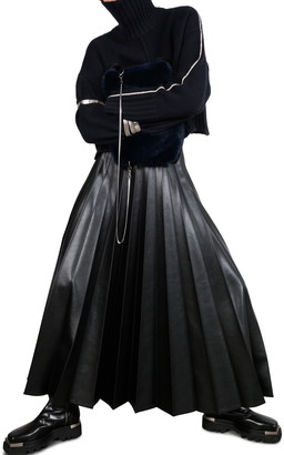 Peter Do Pleated Faux Leather Maxi Skirt