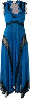Gucci plissé pleated lace insert gown - women - Silk/Polyester/Spandex/Elastane/Metallic Fibre - M