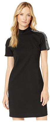 MICHAEL Michael Kors Mock Neck Logo Tape Dress (Black) Women's Clothing
