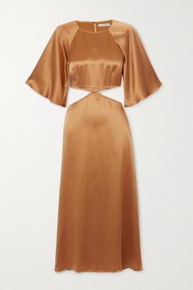 Reformation Noemi Cutout Silk-satin Midi Dress - Beige