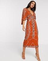 Asos Design DESIGN midi dress with kimono sleeve and embellished cape