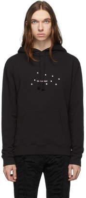 Saint Laurent Black Rive Gauche Logo Small Stars Hoodie