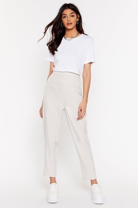 Nasty Gal Womens Suit Up High-Waisted Tapered Trousers - Beige - 6