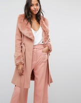 Miss Selfridge Faux Fur Cuff Fit & Flare Coat