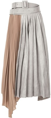 System Asymmetric Pleated Skirt