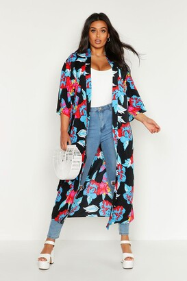 boohoo Plus Floral Print Belted Kimono