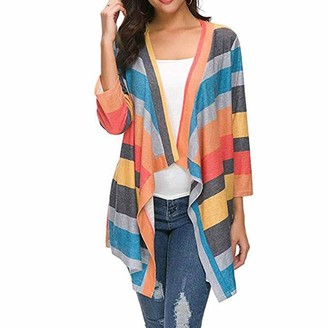 Kalorywee Women Coats And Jackets KaloryWee Striped Cardigans for Women Knitted Waterfall Long Sleeve Chunky Colourful Loose Fashion Oversized Jacket Coat Jumper Cardigan Orange