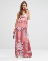 Lavand Pink Floral Maxi Dress
