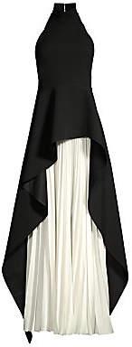 SOLACE London Women's Lavina Layered High-Low Pleated Chiffon Maxi Dress - Size 0