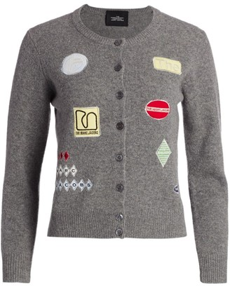 Marc Jacobs The Embroidered Long-Sleeve Button-Up Wool Cardigan