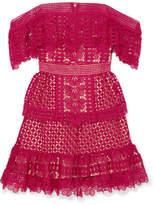 Self-Portrait Off-the-shoulder Guipure Lace Mini Dress - Red