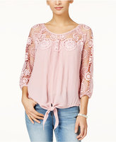 American Rag Crochet-Trim Tie-Front Top, Only at Macy's