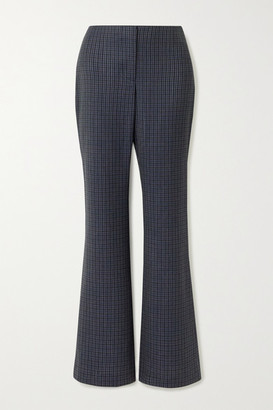 Wright Le Chapelain - Checked Wool Flared Pants - Dark gray
