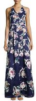 Phoebe Couture V-Neck Floral-Print Ball Gown