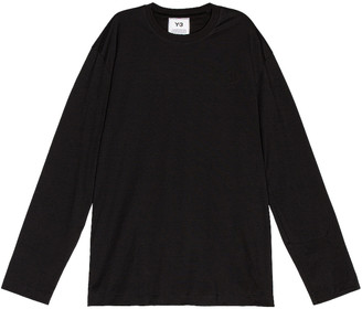 Yohji Yamamoto Chest Logo Long Sleeve Tee in Black | FWRD