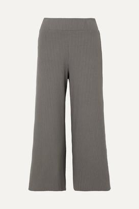 Calé cale - Gigi Ribbed Stretch-knit Culottes - Dark gray