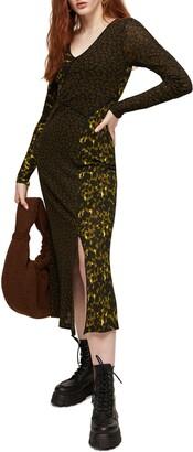Topshop Mix & Match Long Sleeve Jersey Midi Dress