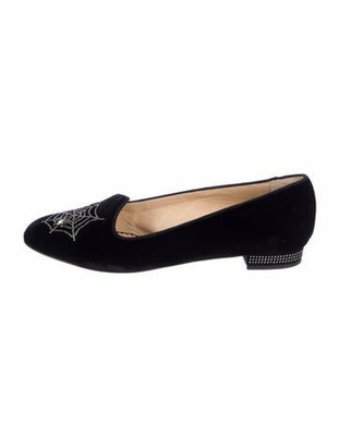 Charlotte Olympia Crystal Embellishments Loafers Black