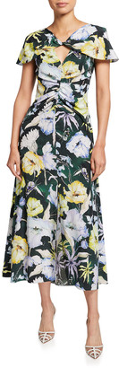 Jason Wu Collection Floral Print Twisted-Front Midi Day Dress