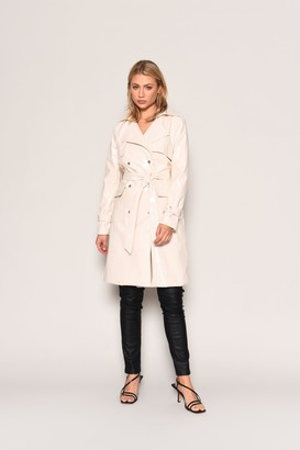 Glamorous Womens **Cream Pu Belted Mac By Cream