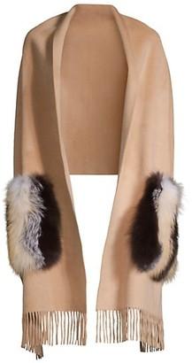 Lafayette 148 New York Fox Fur Pocket Cashmere-Blend Shawl