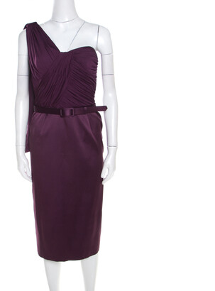 Escada Aubergine Draped Bodice Detail Asymmetric Sleeve Corsagenkleid Sheath Dress M