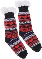 Wanted Women's Snowflake Thermal Plush Knee High Slipper Socks (Black)