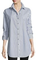 Go Silk Long-Sleeve Skinny-Striped Big Shirt, White/Black, Plus Size