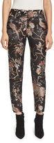 Alice + Olivia Stacey Floral-Print Ankle Trousers, Burgundy