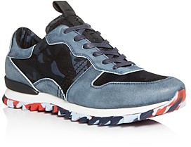 Karl Lagerfeld Paris Men's Camo Suede Low-Top Sneakers