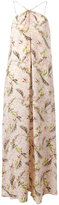 Cacharel feather print long dress - women - Silk - 40