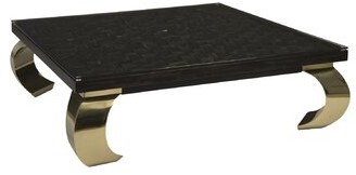Distressed Black and Gold Coffee Table with Tray Top Phillips Collection