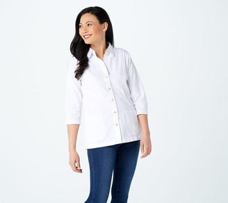 Joan Rivers Classics Collection Joan Rivers 3/4-Sleeve Denim Shirt with Back Button Detail