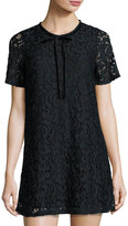 Romeo & Juliet Couture Short-Sleeve Lace-Overlay Shift Dress, Black