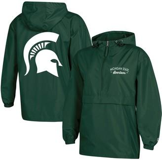 Champion Women's Green Michigan State Spartans Packable Half-Zip Light Rain Jacket